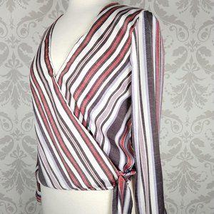 BB Dakota striped wrap front blouse XS